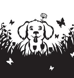 meadow puppy vector image vector image