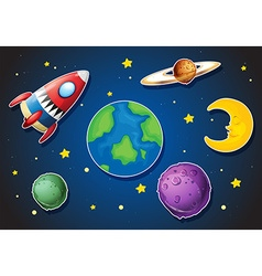 Spaceship and different planets in galaxy vector image