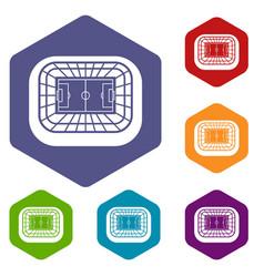 stadium top view icons set vector image