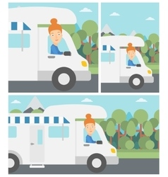 Woman driving motor home vector image vector image