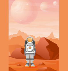 astronaut on mars planet vector image