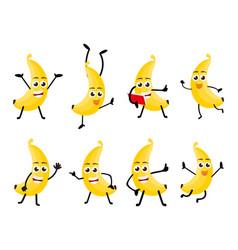 banana fruits cartoon character vector image vector image