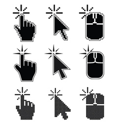 Click here mouse cursors set vector image