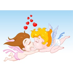 Cupid kissing Angel vector image vector image
