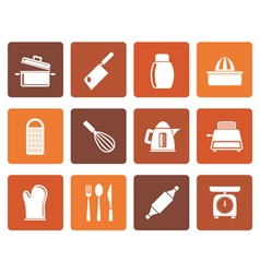 Flat Kitchen and household Utensil Icons vector image vector image