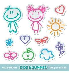 hand drawn kids vector image