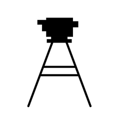 black silhouette tripod for surveying vector image