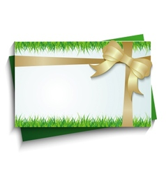card with a bow and grass vector image