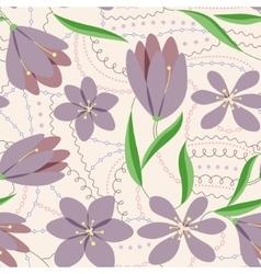Crocuses seamless pattern lilac vintage vector image vector image