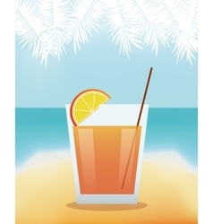 cocktail lime alcohol with beach background vector image