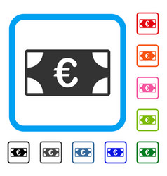 euro banknote framed icon vector image