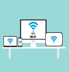 Free wi-fi multi platform device vector image vector image