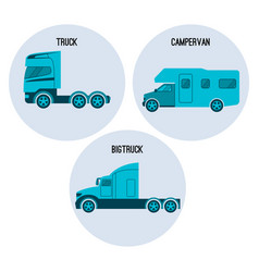 truck or lorry motor vehicle campervan camper vector image