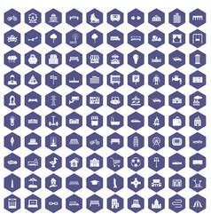100 urban icons hexagon purple vector