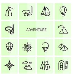 14 adventure icons vector