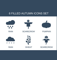 6 autumn icons vector image