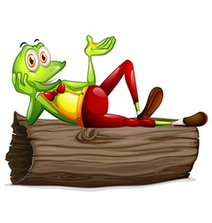 A frog lying above the trunk vector image