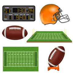American football realistic icons vector