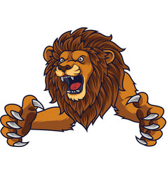 Angry leaping lion vector