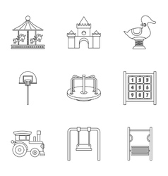 Baby swing icons set outline style vector image