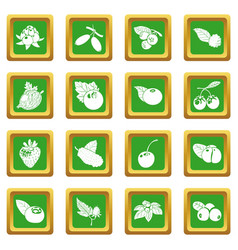 Berries icons set green square vector