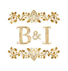 Bi vintage initials logo symbol letters b vector