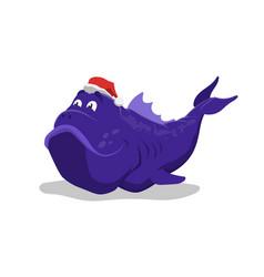 big blue fish in santas hat christmas pet vector image