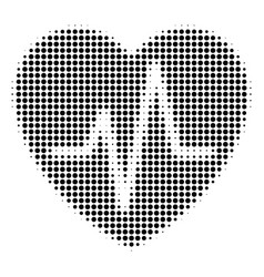 Black dotted cardiology icon vector