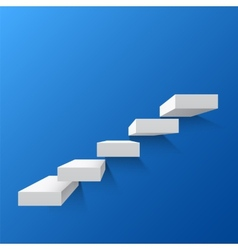 Blue abstract background with white stairs vector image
