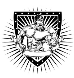 Bodybuilder shield vector