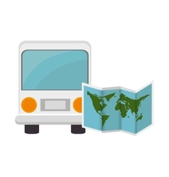 bus and world map vector image