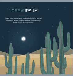 Cactus tree night desert landscape vector