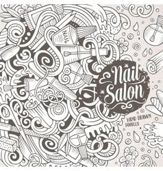 Cartoon doodles Nail salon frame design vector