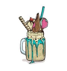 cartoon style milkshake with waffles strawberries vector image