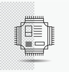 Chip cpu microchip processor technology line icon vector