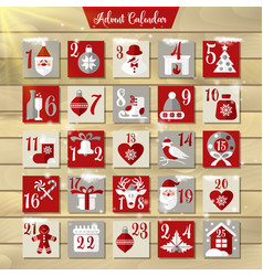 christmas advent calendar or poster winter vector image