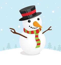 Christmas card with a cute snowman vector image