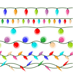 Christmas lights isolated led neon lamp vector