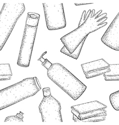 Cleaning set Seamless pattern vector image