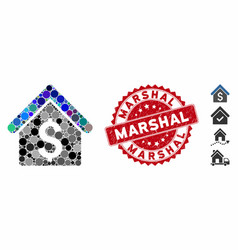 Collage house rent icon with textured marshal vector