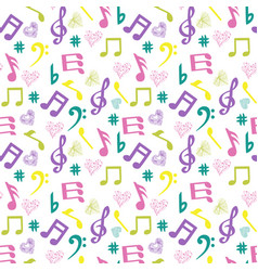 Colorful music-notes and hearts on white vector
