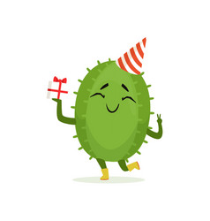 Cute cactus in a party hat holding gift box funny vector