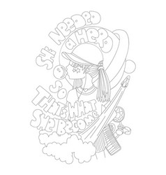 cute hand draw coloring page with brave girl vector image