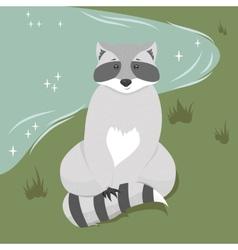 Cute sitting raccoon vector image