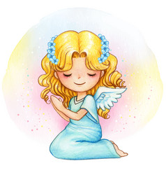 Cute watercolor angel with blue floral crown vector