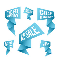 Cyber monday discount design set blue flashes vector