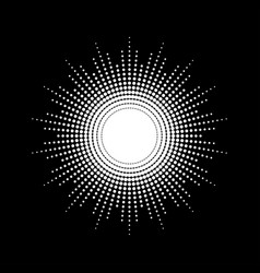 Dots drawing of rays of the sun in vintage style vector