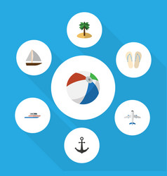 Flat icon summer set of aircraft coconut sphere vector