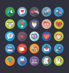 Flat icons pack of love and valentine vector