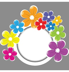 Frame with colored flowers vector image